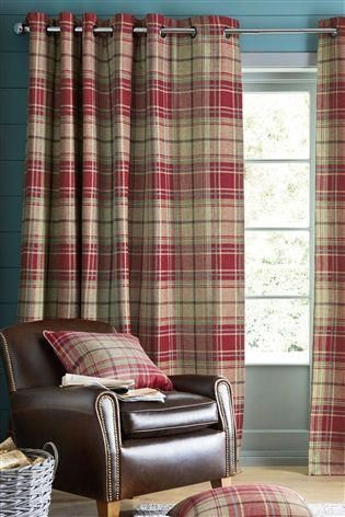 Buy Morcott Woven Check Eyelet Blackout Curtains From The Next Uk