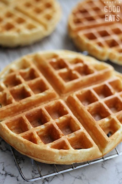 Fluffy Waffle Recipe Perfect To Freeze Grace And Good Eats Homemade Waffles Easy Waffle Recipe Waffles Recipe Homemade