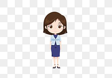 Cartoon Character Professional Woman Q Version Female White Collar Png And Vector With Transparent Background For Free Download Simple Cartoon Characters Cartoon Characters Simple Cartoon