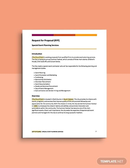 Event Planning Request For Proposal Template Word Google Docs Apple Mac Pages In 2020 Proposal Templates Request For Proposal Proposal