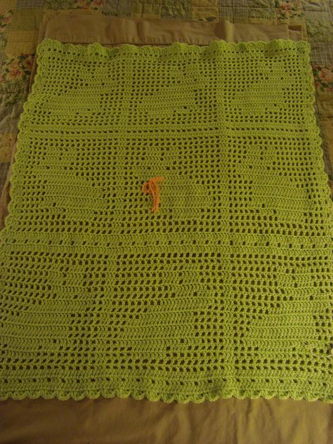 Bunny Filet Crochet Baby Afghan Free Pattern From Red Heart Yarns