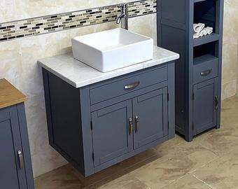 Bespoke Bathroom Vanity Unit Made To Any Size Drawer Top With Etsy Vanity Units Bespoke Bathroom Bathroom Vanity Units