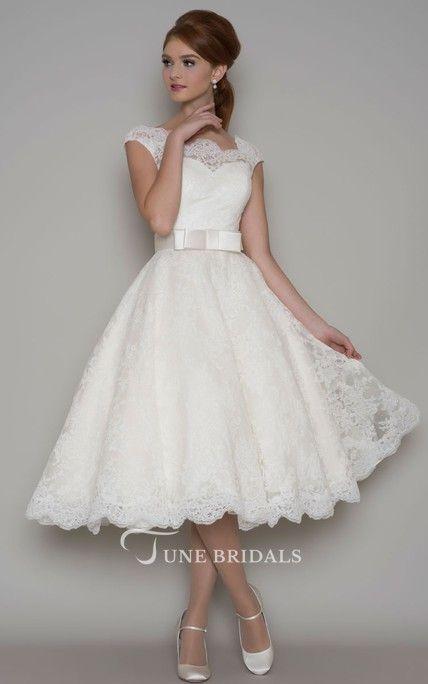 Tea-Length A-Line Cap Sleeve Square Neck Ribboned Lace Wedding Dress - June Bridals