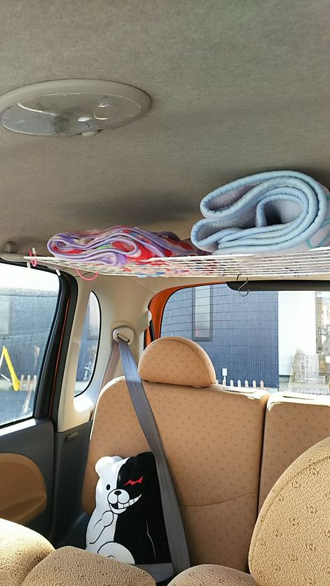 """The idea in the car of his wife. Hook the S-shaped hook of the Daiso in the car of the left and right of possession, houses the rug to make a shelf with a wire net. The total amount of money, about 300 yen. (^^) in the Jimny , how trying to do. Hippie Car, Car Interior Decor, Pink Car Interior, Car Interior Design, Monospace, Cute Car Accessories, Car Interior Accessories, Car Essentials, Road Trip Hacks"