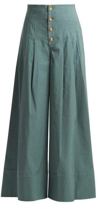 Sea Bernadette High Rise Wide Leg Trousers Womens Khaki Woman Fashion Online Fashion Pants Fashion Blouse Designs