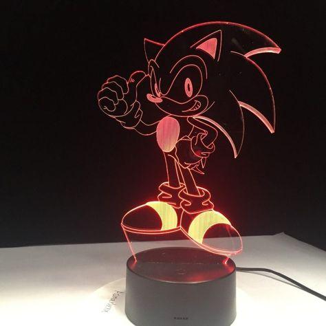 Lampe Decoration Led Chambre Sonic Le Herisson Sega Lampe Decoration Lampes Chambre Coucher Sonic Le Herisson