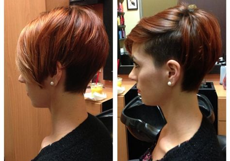 Justin Dillaha's wife @dillahajhair Instagram photos.  How stoked am I?!? The wife let me cut her hair off :) #hair #hairart #haircut #hairstyle #hairstylist #shaved #shorthair #shorthaircut #shorthairstyle #shorthairphotos #bangstyle #pixiehaircut #thisismyart #mywifeiscoolerthanyours