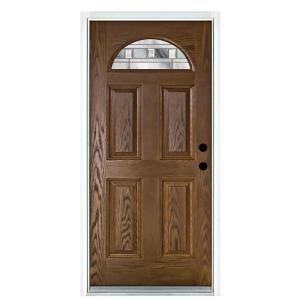 Mp Doors 36 In X 80 In Savana Medium Oak Left Hand Inswing Fan Lite Decorative Fiberglass Prehung Front Door N3068l4gvlk24 Fiberglass Door Fiberglass Entry Doors Front Door