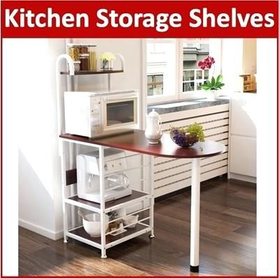 Retractable Microwave Oven Bakers Rack Kitchen Storage Shelves Stand Metal Black