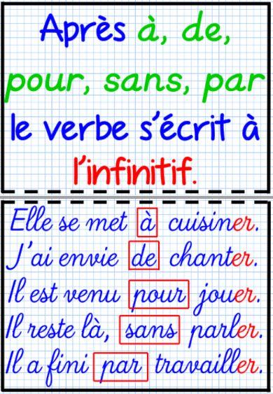 Prépositions et verbe à l'infinitif