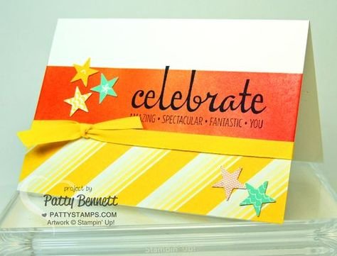 Sponged background Celebrate card by Patty Bennett featuring Fabulous Four stamp set. #stampinup #pattystamps #celebrate #fabulousfour #card