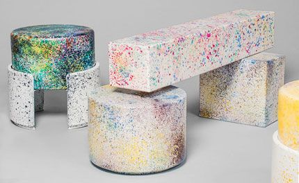 Swiss-born duo Kueng Caputo's latest collection presents a psychedelic series of hand-painted benches, stools, bowls and lights, which pay homage to the shapes…