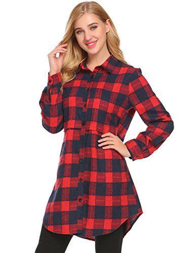 Unibelle Damen Kariertes Kleid Langarmshirt Hemdkleid Shirtkleid Blusenkleid Karo Kleid Rot Xxl Hemdkleid Blusenkleid Shirtkleid