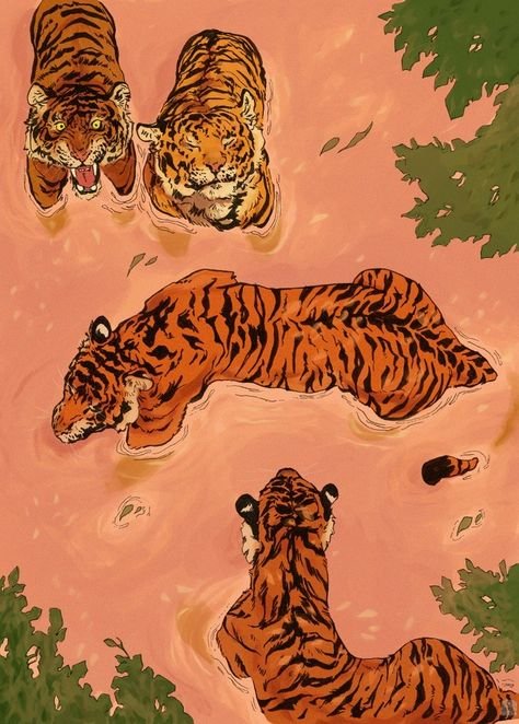 "Creative Drawing ""Tiger Beach"" by Vincent Cecil on INPRNT - This is a gallery-quality giclée art print on cotton rag archival paper, printed with archival inks. Inspiration Art, Art Inspo, Japon Illustration, Tiger Illustration, Fashion Illustration Collage, Japanese Illustration, Pattern Illustration, Posca Art, Wow Art"