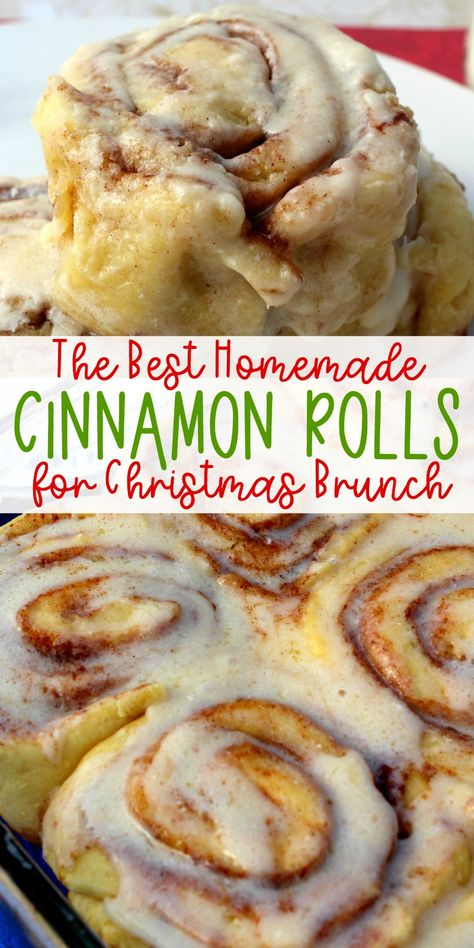 Treat your family to these delicious homemade Cinnamon Rolls for Christmas brunch! They're easy to make and your whole family will be impressed. cookies Homemade Cinnamon Rolls for Christmas Brunch Cinnabon Recipe, Cinnabon Cinnamon Rolls, Overnight Cinnamon Rolls, Swedish Cinnamon Rolls Recipe, Cinnamon Roll Recipes, Cinnamon Desserts, Best Cinnamon Rolls, Breakfast And Brunch, Cinnamon Rolls