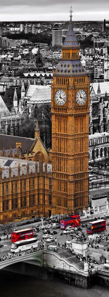 Vistas del Big Ben y el puente de Westminster, Londres Inglaterra.