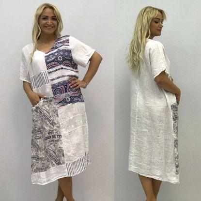 Elb50 Beyaz Otantik Baskili Italyan Keten Elbise Beyaz Elb50beyaz Elbise Italya Mavi