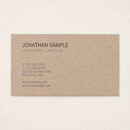 Brown Kraft Paper Elegant Modern Design Luxury Business Card Zazzle Com Luxury Business Cards Business Card Minimalist Business Card Modern