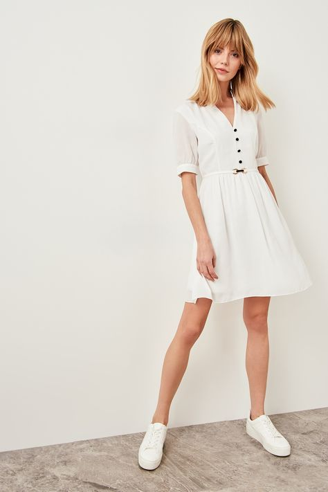 637c338eae86d Trendyol White Red Button Detail Dress and Belt TWOSS19LJ0105-in ...