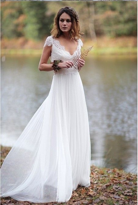Ivory Beach Wedding Dresses Vintage Lace Tulle Cap Sleeves A Line Wedding Dress Bridal Dress In 2020 Lace Wedding Dress Vintage Wedding Dress Cap Sleeves Beach Bridal Gown