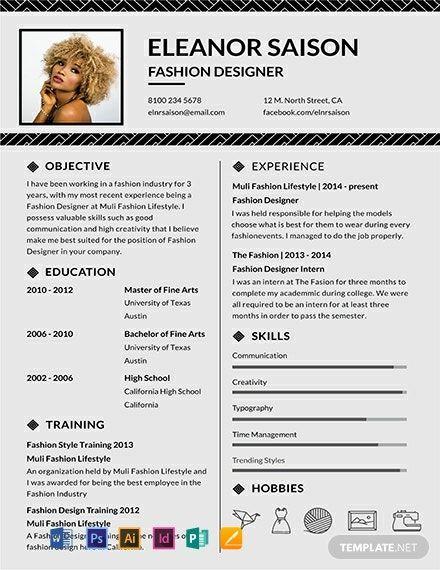 Assistant Fashion Designer Resume Cv Template Word Psd Indesign Apple Pages Illustrator Publisher Fashion Designer Resume Resume Design Template Graphic Design Resume