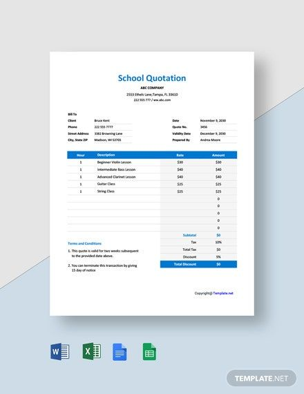Computer Quotation Template Google Docs Google Sheets Excel Word Apple Numbers Apple Pages Pdf Template Net In 2021 Quotations School Quotes Quote Template