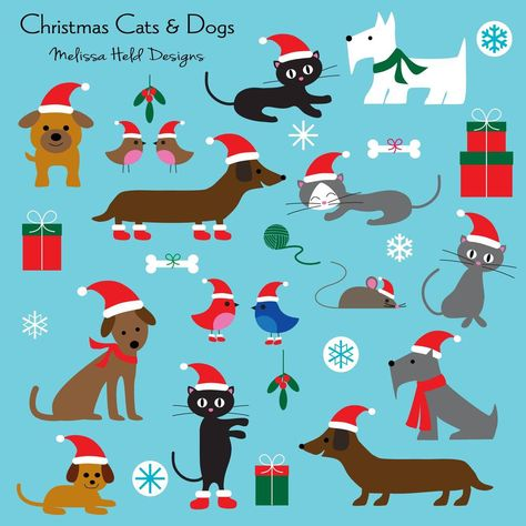 Christmas Cats and Dogs Clipart #Mygrafico #clipart #digitalgraphics