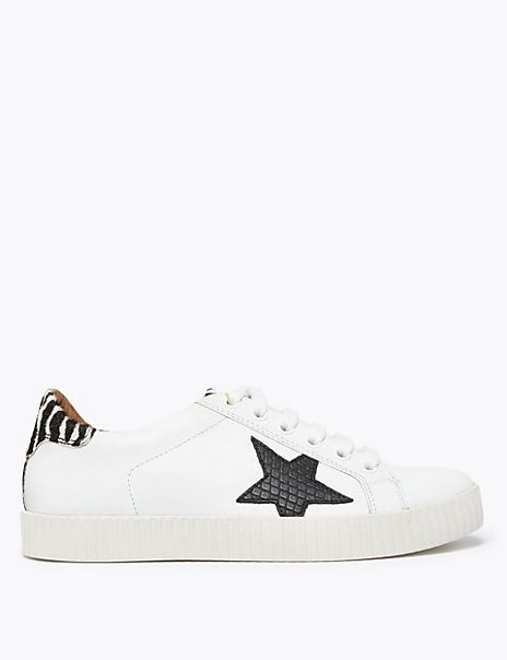 Leather Lace Up Star Print Trainers   M