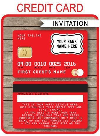 Credit Card Invitation Template Credit Card Invitations Template Red In 2020 In 2020 Invitation Cards Invitation Template Printable Invitation Templates