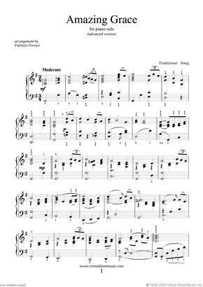 Amazing Grace Advanced Version Sheet Music For Piano Solo Pdf