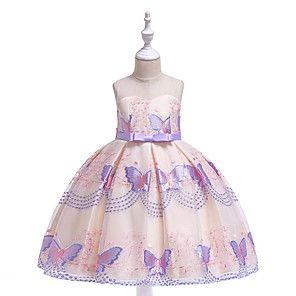 Kinder Mädchen Prinzessin Kleider Festkleid Hochzeit Schmetterling Party Kostüm