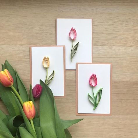 Set of 3D handmade cards decorated with quilled dark pink, pink and yellow tulips. This card can be used for any special occasion: Birthday, Valentines Day, Mothers Day, Wedding anniversary. Its perfect for your wonderful mums birthday, as a special thank you to a friend or a one of a kind birthday