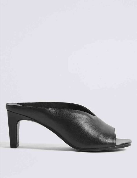 Leather Straight Back Mules Sandals