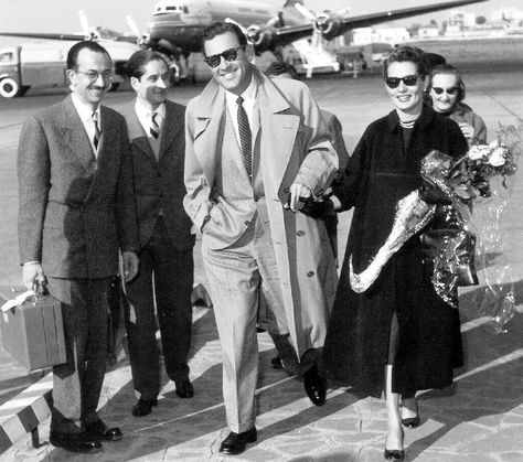 William Holden with His Wife Brenda Marshall Arrive at the Airport, 1950's.