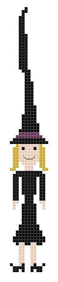 Tall Witch Counted Cross Stitch Wiccan by crochetcronesdesigns, $3.00