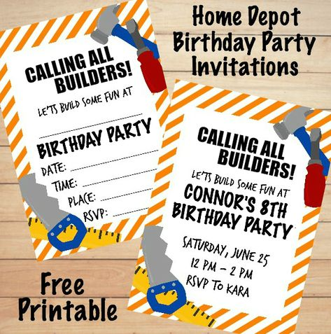 Planning a birthday party? Host a Home Depot Birthday Party and use these free printable birthday party invitations.