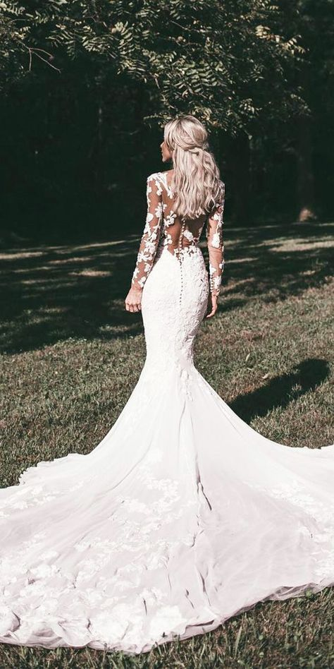 Wedding Gown Styles: Become An Expert Before Shopping ★ wedding gown styles mermaid with long sleeves illusion back floral pronovias  #bridalgown #weddingdress