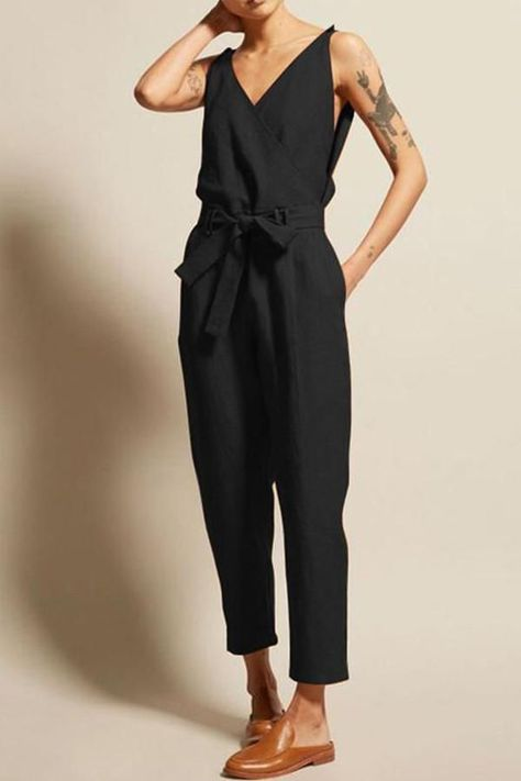 Womens Jumpsuit With Belt V Neck Solid Color  Long Sleeve High Waist Wide Leg