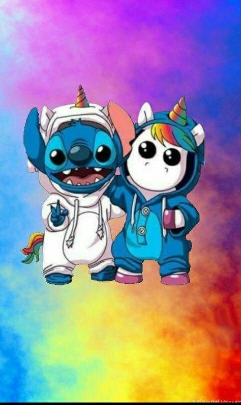 Stitch and unicorn in rainbow wallpaper #unicornwallpaper #stitchdisney Stitch and unicorn in rainbow wallpaper #unicornwallpaper