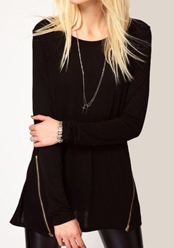 Black Zipper Long Sleeve Polyester Fibre T-Shirt
