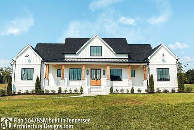 This 4-bed modern farmhouse plan has perfect balance with two gables flanking the front porch (10' ceilings, 4:12 pitch). A classic gabled dormer - for aesthetic purposes - is centered over the front french doors that welcome you inside. Board and batten siding helps give it great curb appeal. Vaulted ceilings in the great room are visible from the foyer. Step into the room and you'll find a fireplace on the right wall flanked by built-ins and views that extend across the rear porch and to the k
