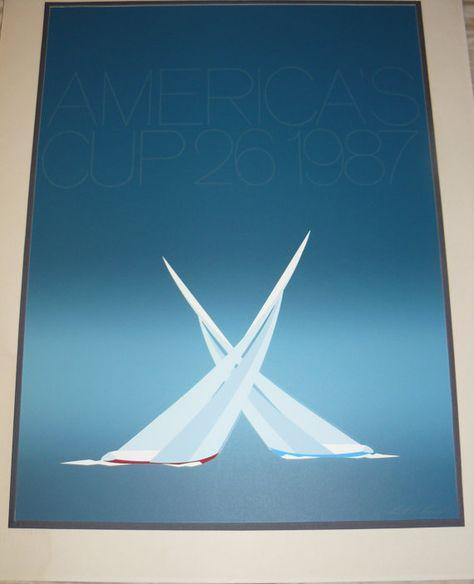 AMERICAS CUP RACES 1987 Original Signed by MIDCENTURYTREASURES, $95.00
