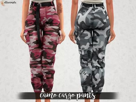 85444555b86 Elliesimple - Camo Cargo Pants - The Sims 4 Download - SimsDomination