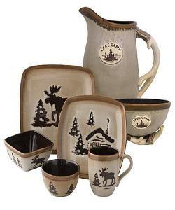 Moose Dinnerware Set : moose, dinnerware, Maxnet, Ecommerce, Studio®, Woodland, Dinnerware, Cream, Moose, Decor,, Cabin, Decor