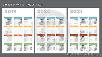 French Calendar 2019 2020 2021 Vector Template Text Is Outline Calendar Calendar Design Print Calendar