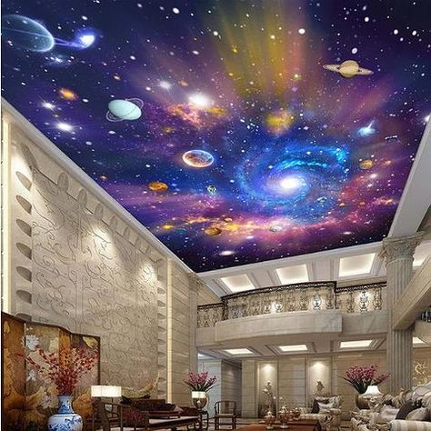 3D Galaxy Stars Universe Wallpaper for Ceiling Planet Photo Mural – beddingandbeyond.club