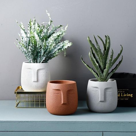 home handmade Cement flowerpot mold Nordic style creativity portrait Pot Molds Silicone Concrete Pot Molds Ceramic Flowers, Ceramic Planters, Ceramic Vase, Ceramic Pottery, Cement Flower Pots, Indoor Flower Pots, Flower Vases, Cactus Plante, Pot Plante
