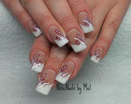 Gelnagel French Weiss Glitzer French Nails Nageldesign Matt Franzosische Nageldesign