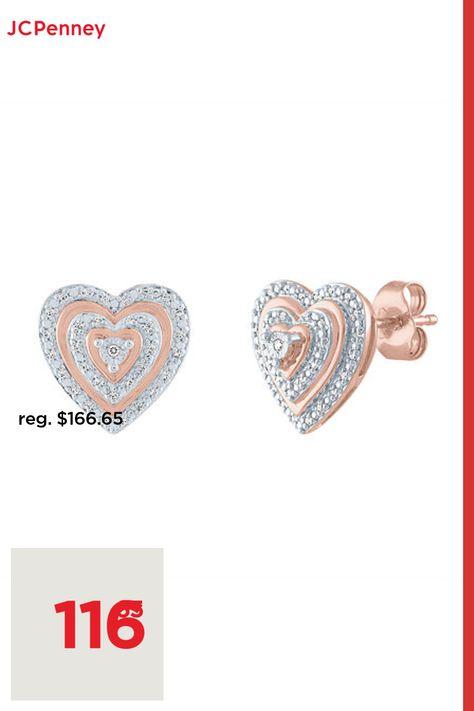 Diamond Clarity: I3Earring Back: FrictionSetting: Multi-SettingShape: HeartStone: DiamondStone Cut: RoundDiamond Color: I-JMetal Color: RoseEarring Length: 11.9mmEarring Width: 11.1mmRounded Carat Weight: 1/10 Ct. T.w.Metal: 14k Rose Gold Over SilverCare: Polishing ClothStone Type: 40 Genuine DiamondAuthenticity: Genuine StoneBirthstone: April BirthstoneCountry of Origin: Imported