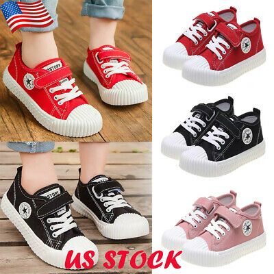 Kids Boy Girl Canvas Trainers Casual Running Sneakers Hook Loop Sport Shoes Size